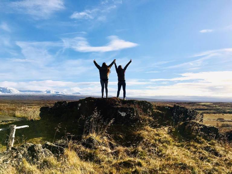 Climbing the mountain Thingvellir National Park